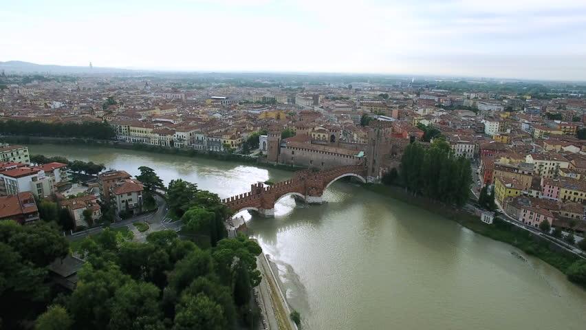 Aerial view of Verona Castel Vecchio Bridge (Scaliger Bridge), Italy | Shutterstock HD Video #23214733
