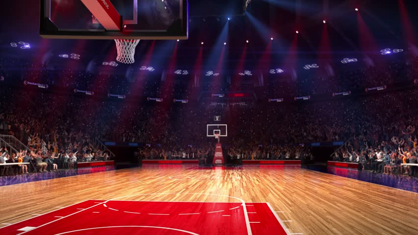 Basketball court with people fan. Sport arena. Ready to start championship. 3d render. Moving lights. With people | Shutterstock HD Video #23220619