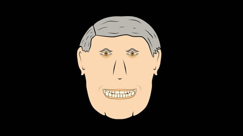 Speak From 2 Sides Of Mouth-V2-Transparent Loopable Animated Cartoon: Man speaks from 2 sides of mouth. Ver 2. For business, sales, social, & political programs.  Alpha Channel.