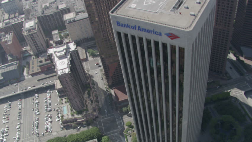 Los Angeles - Circa 2009: Downtown Los Angeles in 2009. Aerial shot of a congested city street lined with tall buildings and palm trees in Los Angeles, California.