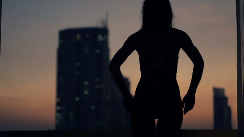 Silhouette of woman admire cityscape view at night, super slow motion 240fps  | Shutterstock HD Video #23284483