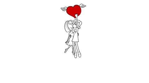 Happy Valentine's day...a man kisses a woman, then they fly high with a big heart, but a cute cherub is going to do something unexpected