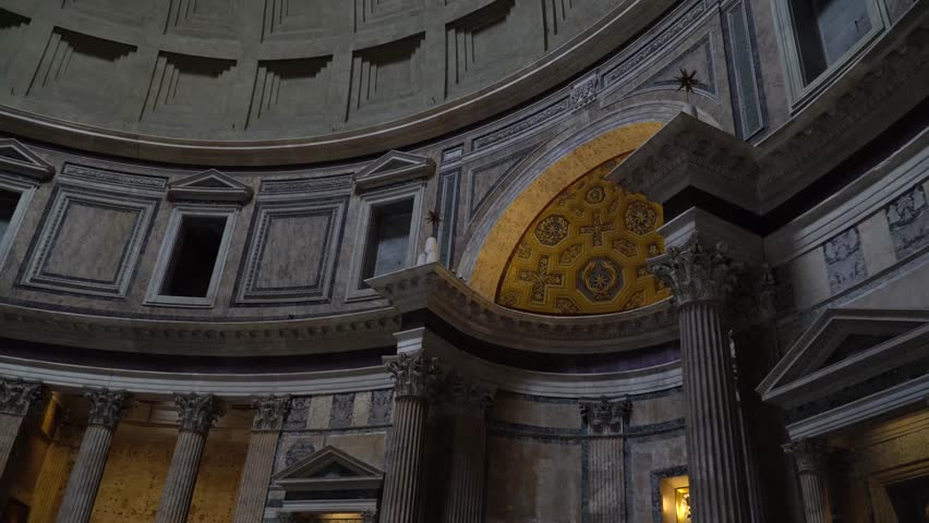 ROME, ITALY - JANUARY 22 2017: The interior of the Pantheon Built by Agrippa on 27 BC was a temple for all the gods of ancient Rome. It is a Christian church from 609.   Shutterstock HD Video #23321683