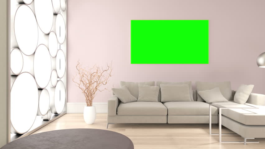 Living Room With Empty At Green Screen On Picture Frames