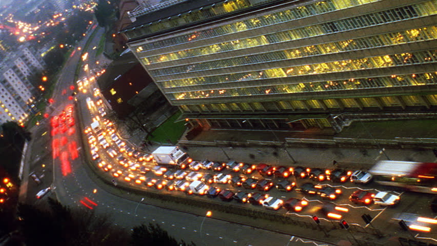 Birmingham, UK Traffic timelapse near building