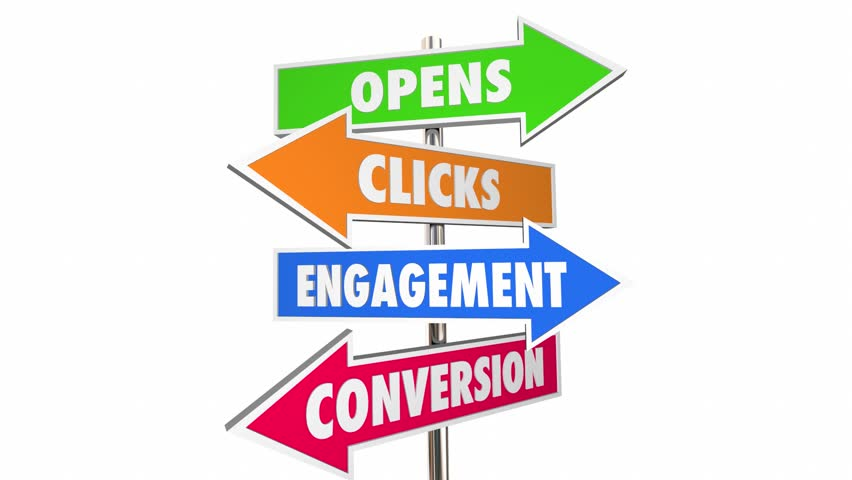 Opens Clicks Engagement Conversion Email Marketing Signs 3d Animation