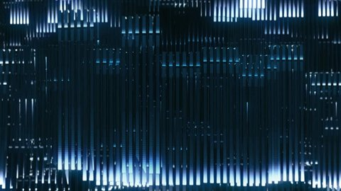 A complex wall of lights that moves like a electrical impulse. Technology and science fiction. Electronic music, video mapping and facade projections, you tube and background for motion graphics.