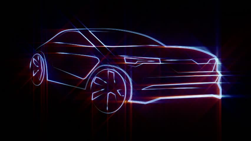 Glowing 3D car lines | Shutterstock HD Video #23400703