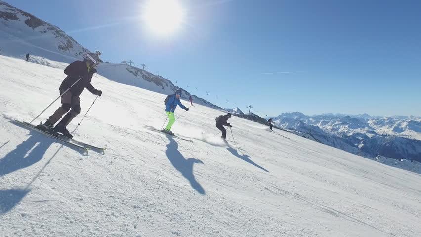 La Plagne, FRANCE - JANUARY 09: Glacier De La Chiaupe, Popular ski destination on January 09, 2017 in La Plagne, France | Shutterstock HD Video #23415103