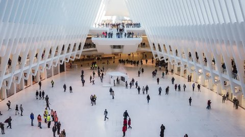 NEW YORK CITY - NOVEMBER 07 (TIMELAPSE): People inside World Trade Center Transportation Hub in lower Manhattan on November 07, 2016 in New York, USA.