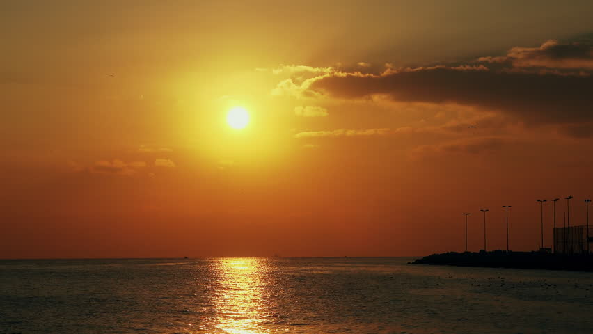 Beautiful view of the sunset on the sea, 21.01.2017, Turkey, Istanbul | Shutterstock HD Video #23466073