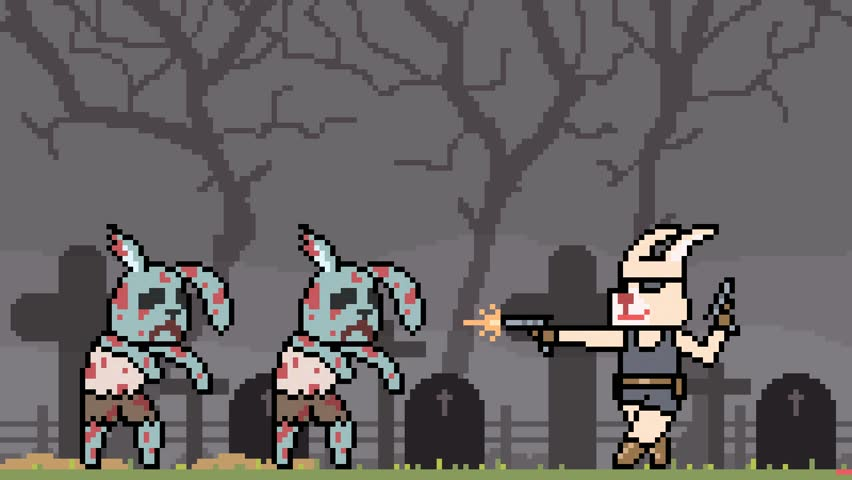 Animation pixel art rabbit fight zombie