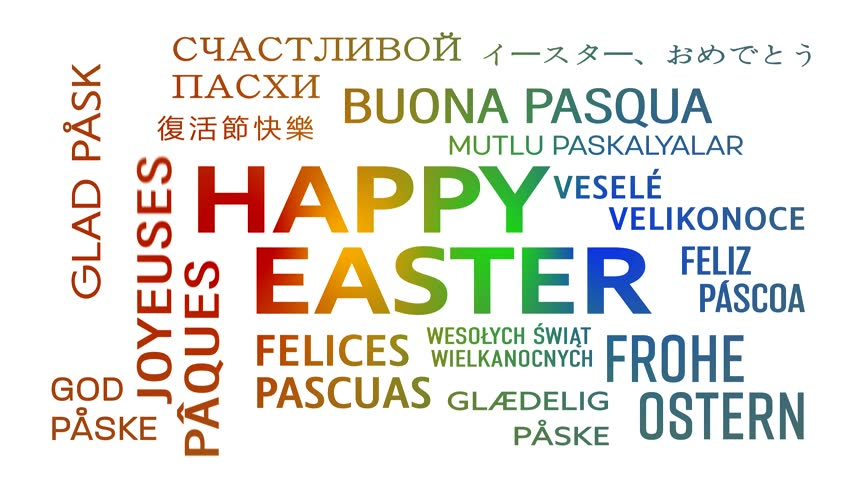Word cloud animation happy easter in different languages for Green in different languages