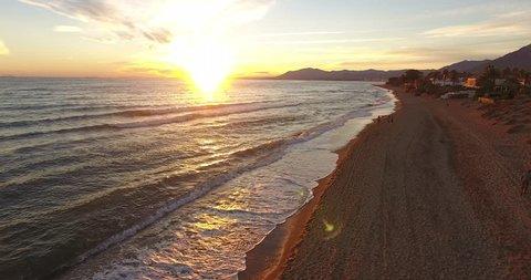 Beach sunset Marbella, Spain- Aerial drone