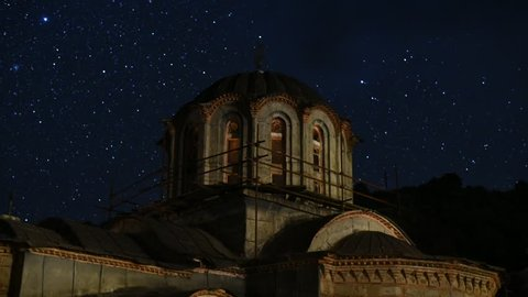 Dome of Monastery Hilandars church with stars at night time lapse, Mount Athos