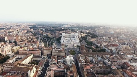 Rome, Italy Cityscape Skyline Aerial View featuring Piazza Venezia and Colosseum 4K