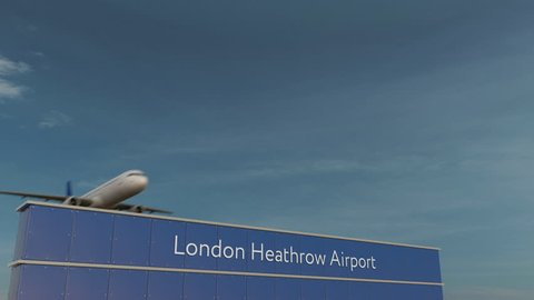 Commercial airplane taking off at London Heathrow Airport 3D conceptual 4K animation