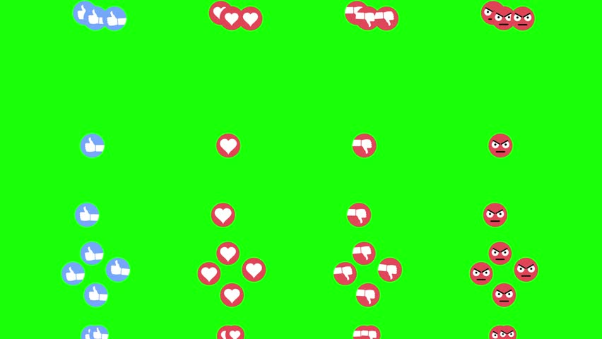 A series of looping social media video emoticon overlays flowing up. Green screen for easy keying.