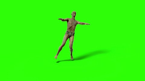 Zombie walking animation. Halloween concept. Green screen animation.