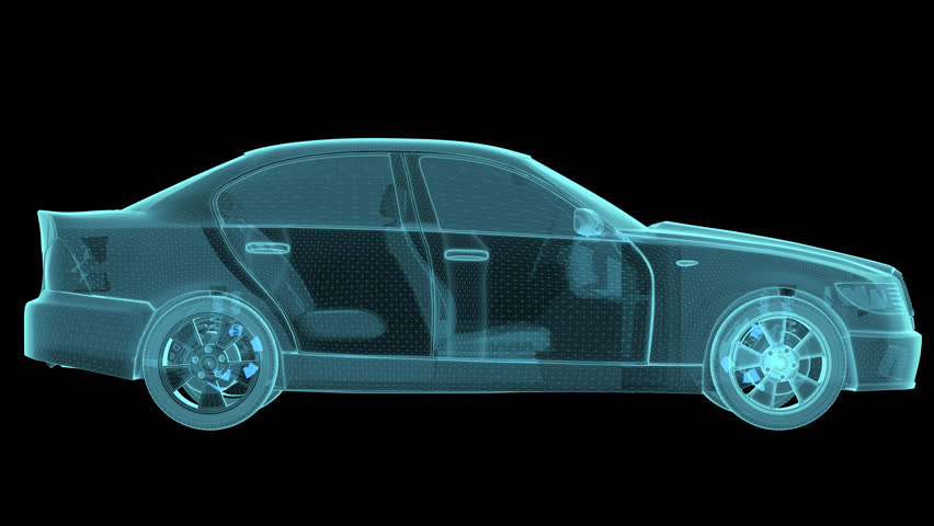 Car and chassis x ray blueprint 360 loopable animation hd stock wireframe car hologram wireframe turntable rotating 3d rendering 4k stock video clip malvernweather Image collections