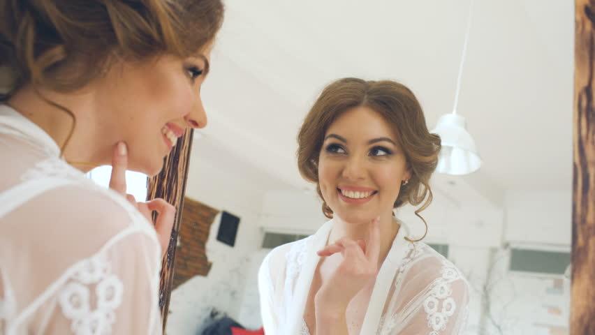 Beauty Teenage Girl Applying Make Up And Admiring Herself -9753