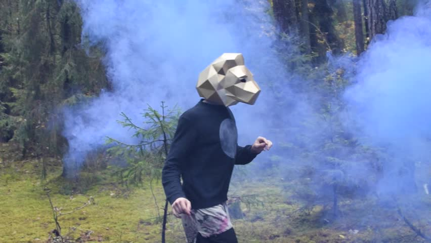 Dancer wearing a low poly lion mask. Slow motion video of a man dancing in the woods and getting covered with blue smoke.  | Shutterstock HD Video #23828263