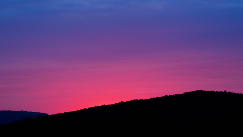 3840x2160 Uhd 4k Time Lapse Motion Video Of Purple Red Blue Pink Sunset Sky Dusk Evening To Dark Night Sun Light Nature Background Cirrus Clouds Moving