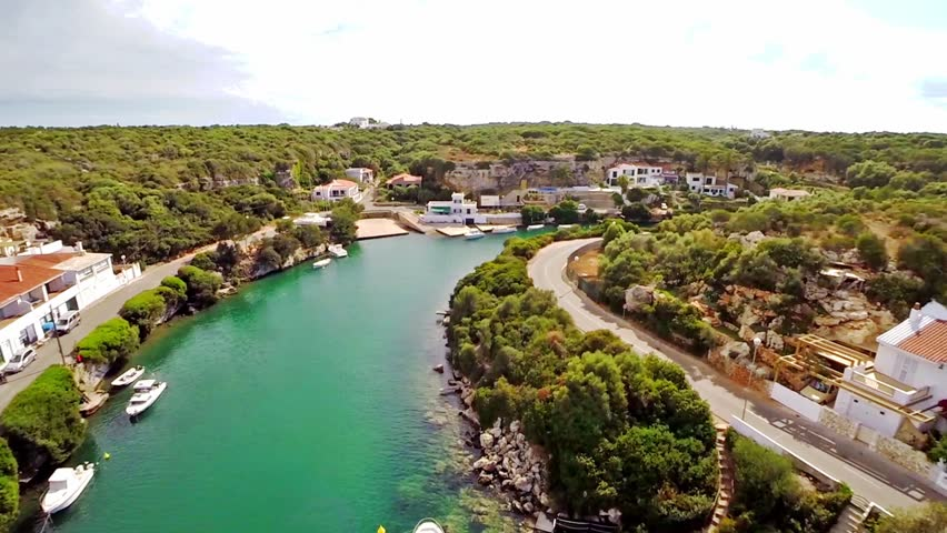 Aerial view of a traditional port in a small village in Mahon, Menorca