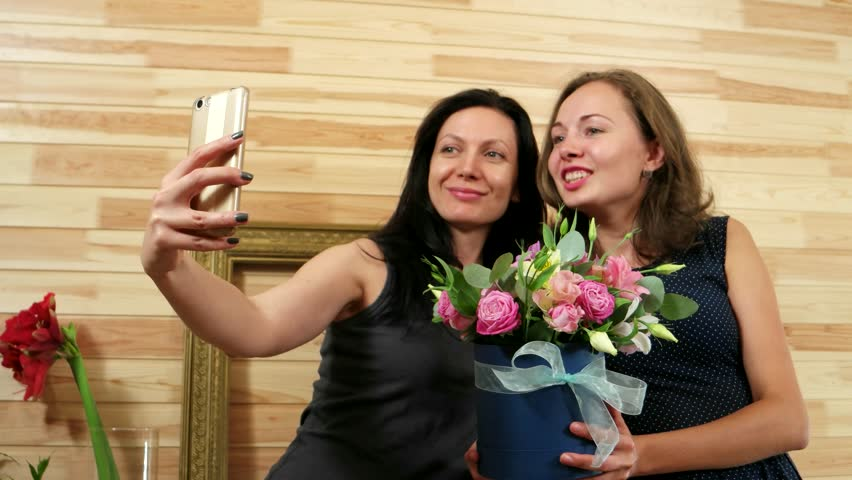 Pretty Girlfriends Photographed Themselves Selfi Stock Footage Video
