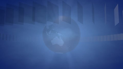 Background with a rotating Globe for Broadcast, Information Distribution, Webcasts, Entertainment and many other Applications, the Videos are loop-able (3d rendering)