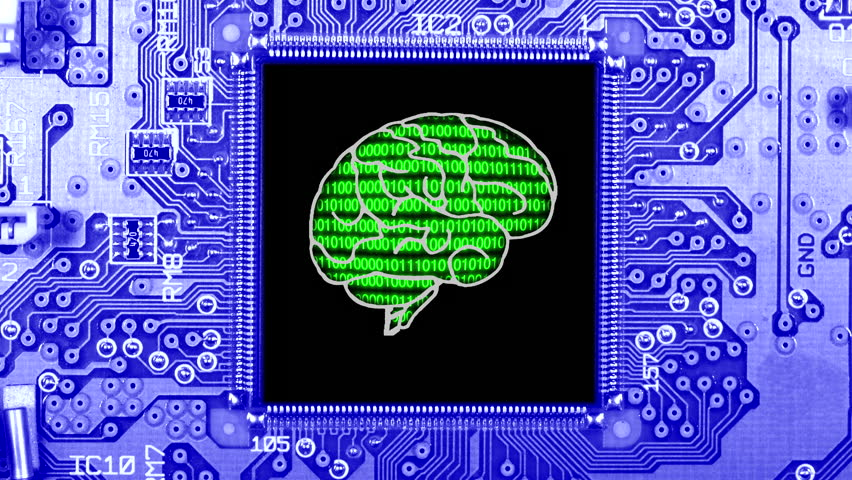 Close up of a computer circuit board with binary code displayed inside a simulated human brain within an integrated circuit computer chip. Artificial intelligence AI. | Shutterstock HD Video #23933113