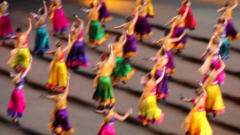 Indian dance. Dancer at parade.Bollywood
