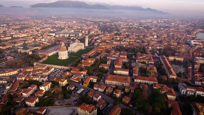 Aerial shot, Piazza dei Miracoli in Pisa city in Tuscany, Italy, filmed with drone | Shutterstock HD Video #23941633