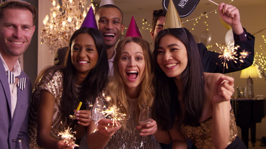 Group Of Friends Celebrating At Stock Footage Video 100 -8846