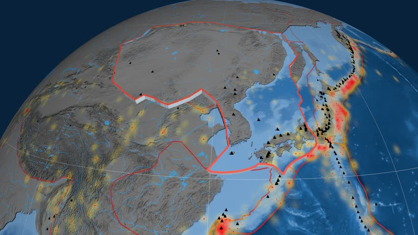 Amur tectonics featured. Topo and bathy. Plate extruded and animated against the globe. Tectonic plates borders (newest division), earthquakes by strength & volcanic cones | Shutterstock HD Video #23961436