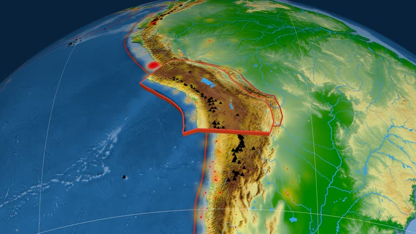 Altiplano tectonics featured. Physical. Plate extruded and animated against the globe. Tectonic plates borders (newest division), earthquakes by strength & volcanic cones | Shutterstock HD Video #23961493