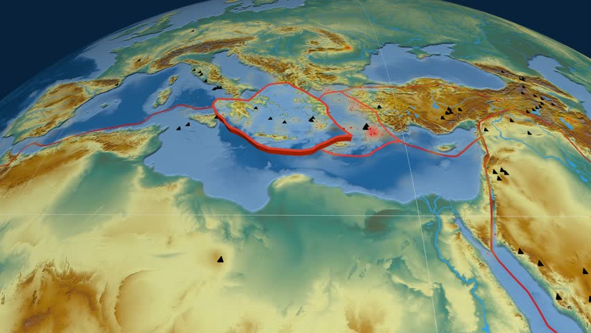 Aegean Sea tectonics featured. Relief. Plate extruded and animated against the globe. Tectonic plates borders (newest division), earthquakes by strength & volcanic cones | Shutterstock HD Video #23961535
