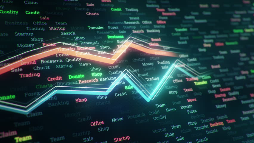 Technological background with growth of charts and graphs on binnary code backdrop. Symbols of business or finance with glowing glass surface. Seamless loop. | Shutterstock HD Video #23970313