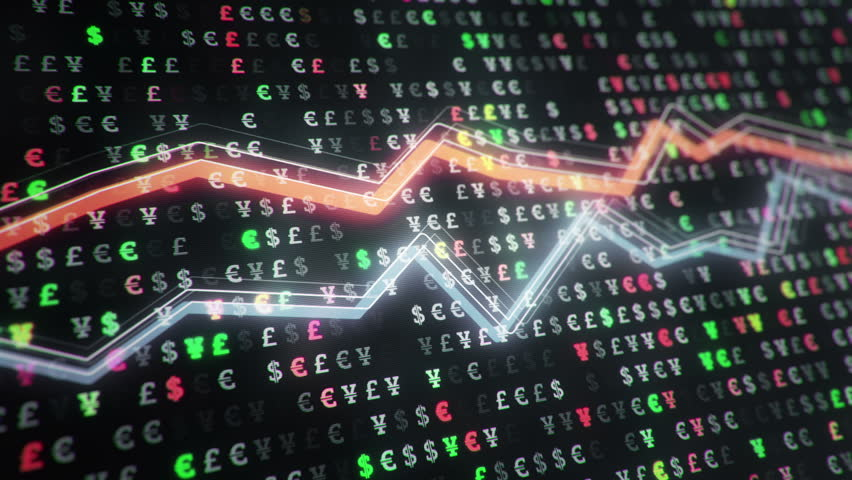 Technological background with growth of charts and graphs on binnary code backdrop. Symbols of business or finance with glowing glass surface. Seamless loop. | Shutterstock HD Video #23970412