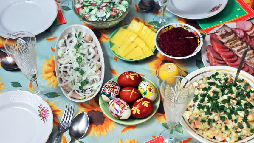 holiday table at Easter in Ukrainian style, panorama left to right