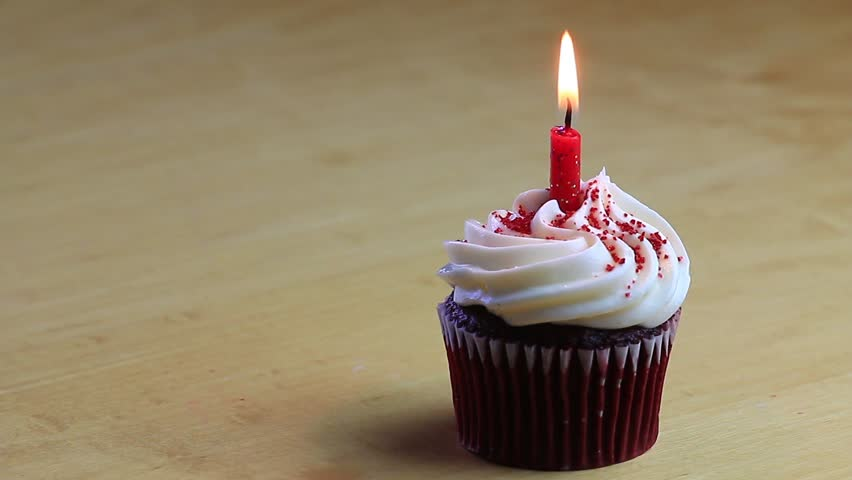 One Chocolate Birthday Cupcake With Burning Red Candle