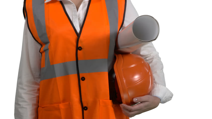 Closeup Of Female Construction Manager Or Engineer On White Background Woman In Orange Safety Vest