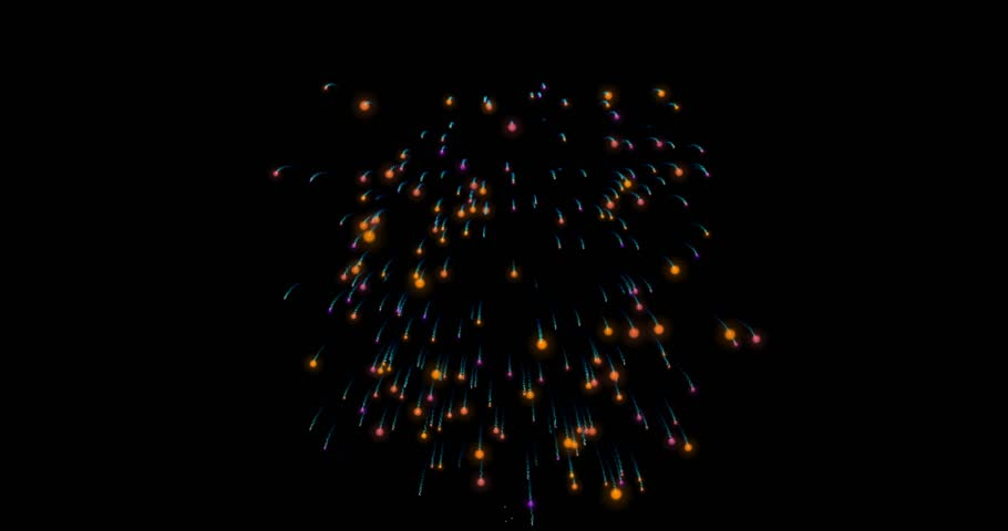 One burst of fireworks in 4k. Fireworks holiday video background. High-definition abstract motion design on blackt color. #24045493