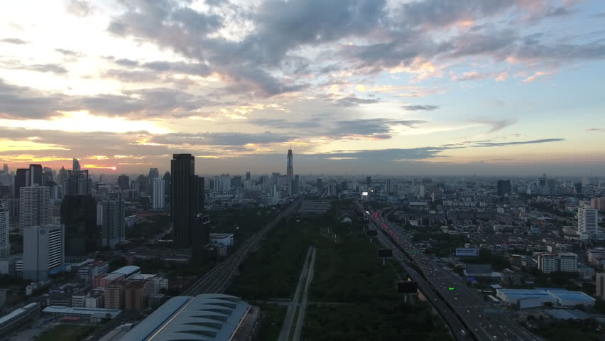 Aerial shot of sunset at city skyline Bangkok Thailand | Shutterstock HD Video #24053443