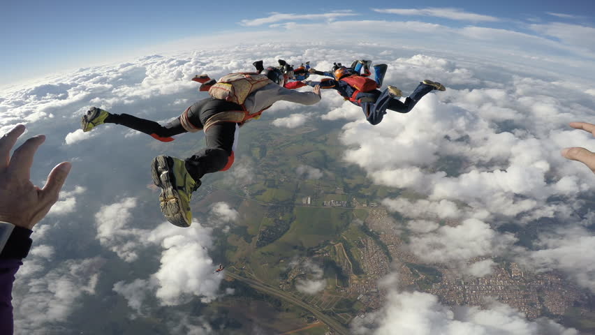 Skydiving jump from the plane point of view | Shutterstock HD Video #24059203