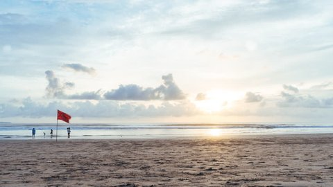 SEMINYAK, INDONESIA - NOVEMBER 2016: Sunset Timelapse