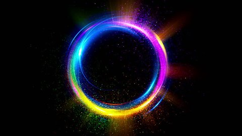 Abstract neon background. Shine ring. Halo around. Sparks particle.  Space tunnel. LED color ellipse. Glint glitter. Shimmer loop motion.  Empty hole. Glow portal. Dust ball. Slow spin. Bright disc.