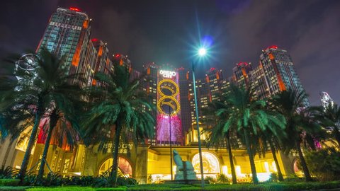 night light macau famous hotel front entrance panorama 4k time lapse china