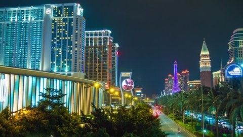 macau famous hotel casino taipa traffic street night panorama 4k time lapse china