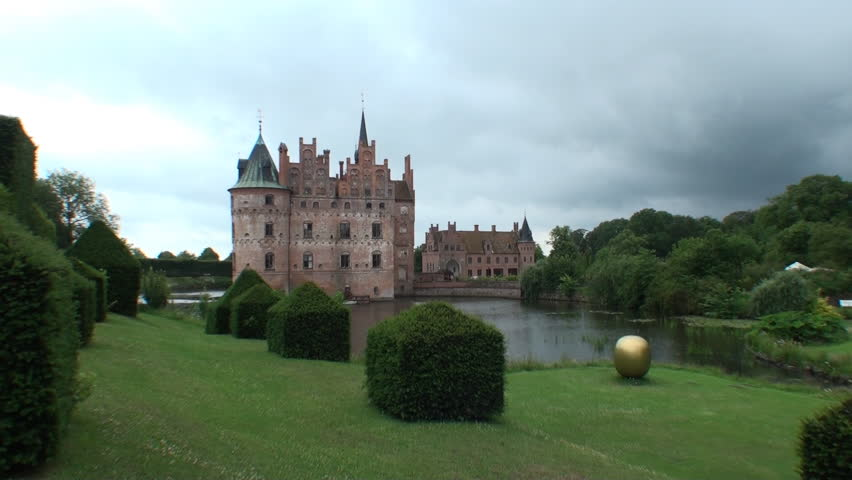 Fairytale like medieval Egeskov Castle on the island of Funen in Denmark